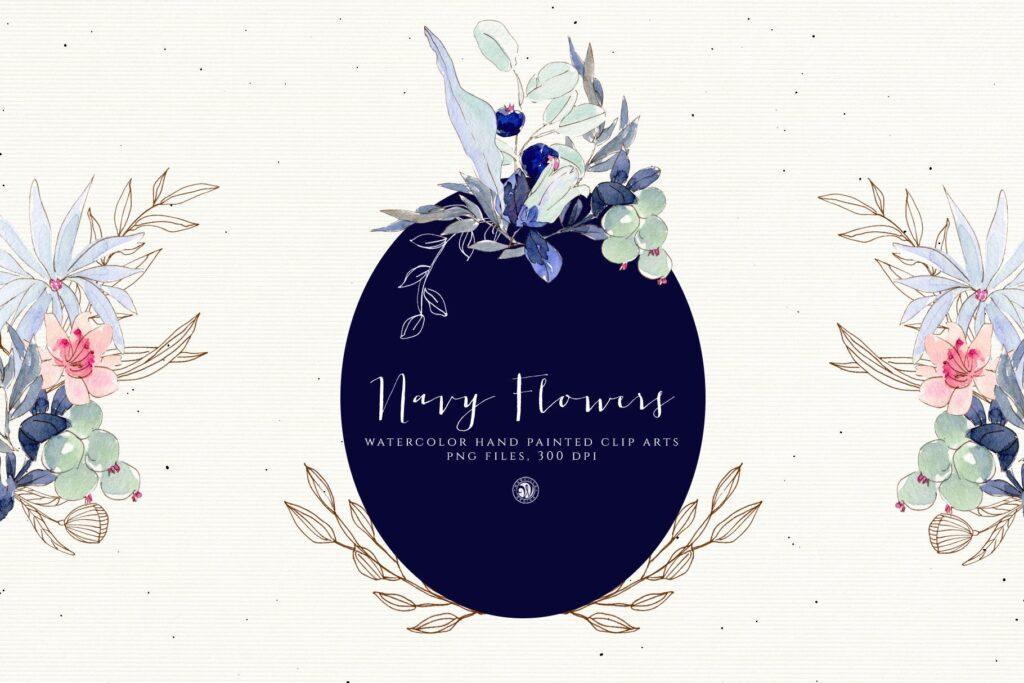 海军水彩手绘画花卉剪贴画装饰图案Watercolor Navy Flowers插图(2)