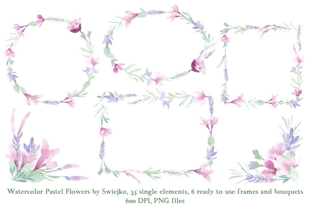 美丽/浪漫的35个手绘花卉和树叶装饰图案Watercolor Pastel Flowers插图(2)