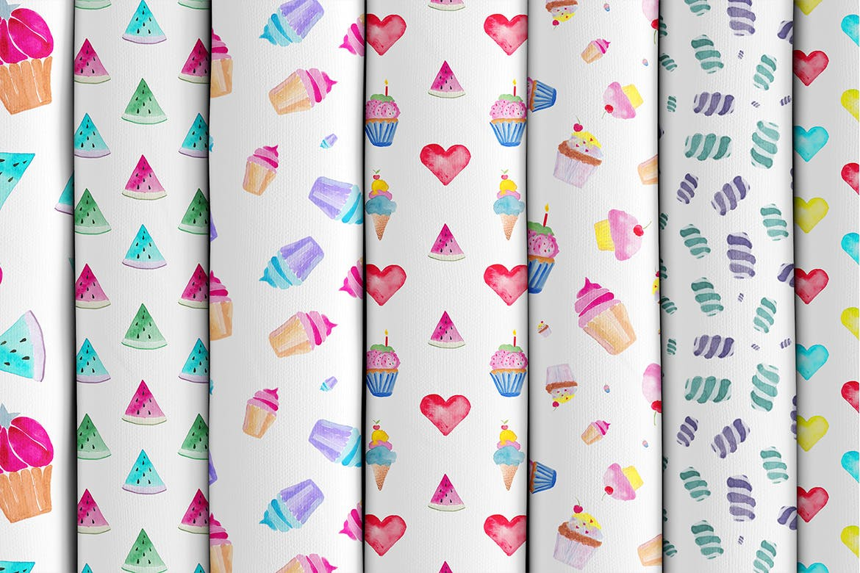 15个手绘水彩糖果创意图案素花纹Watercolor Sweet Patterns插图(2)