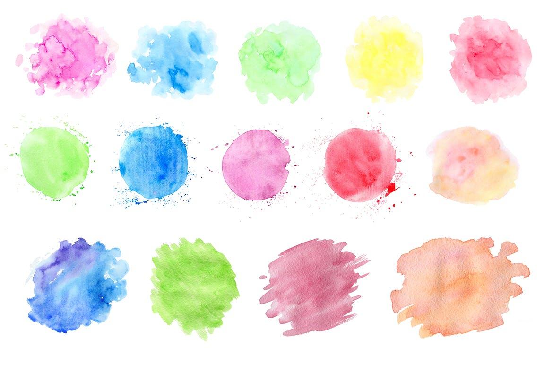 水彩墨迹笔触装饰元素下载Watercolor Textures and Patterns插图(2)