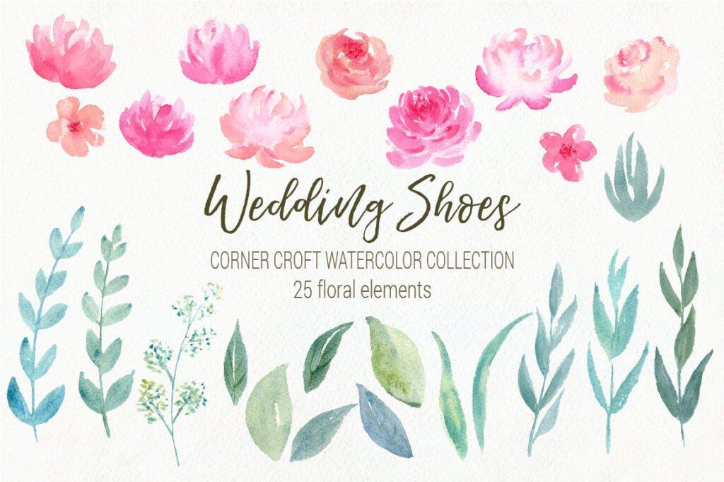水彩婚纱鞋系列/婚纱鞋剪贴画装饰图案Watercolor Wedding Shoes Collection插图(2)