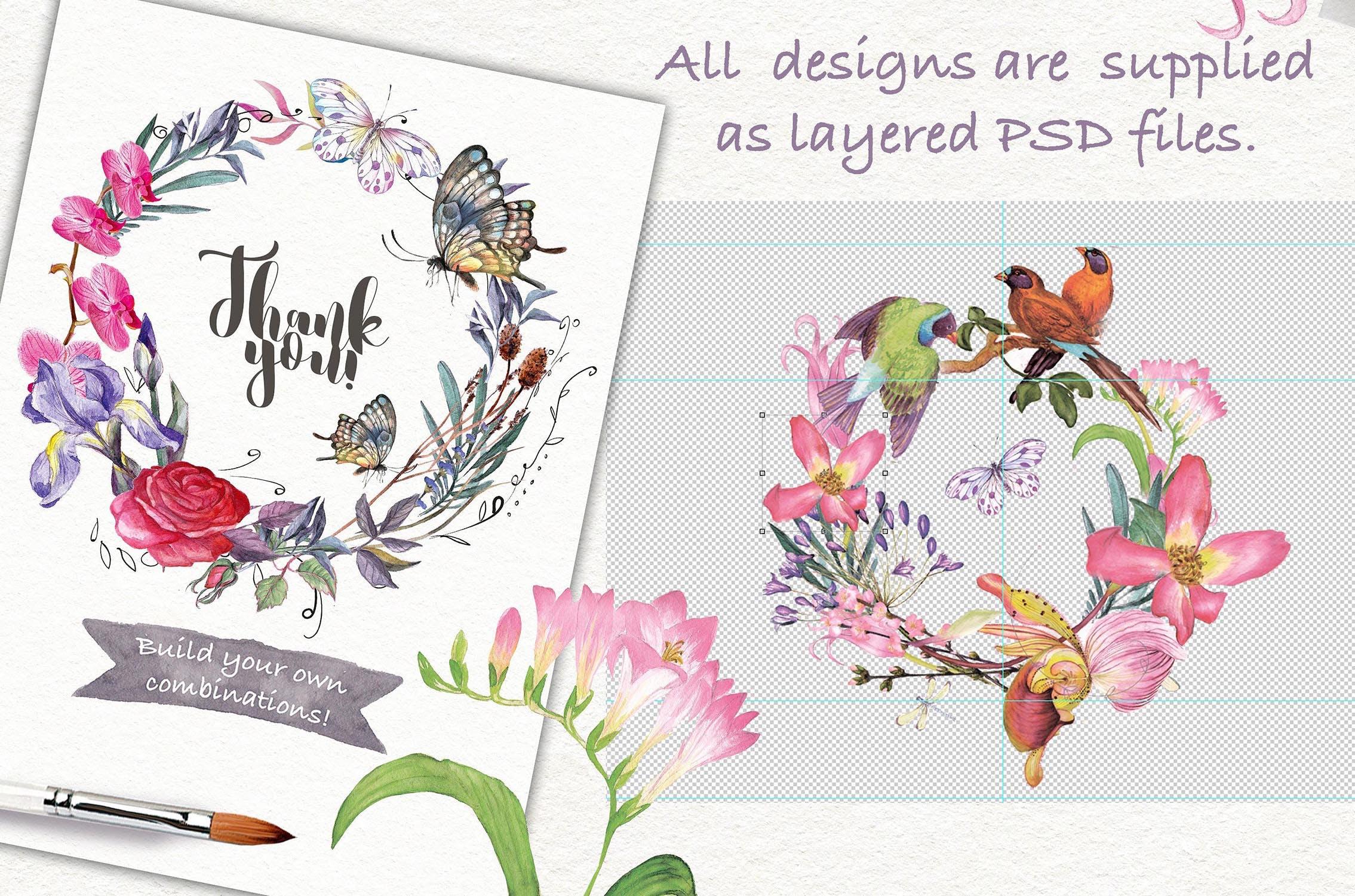 婚礼邀请函自然花环创意图案纹理装饰Watercolor wreaths psd png插图(2)