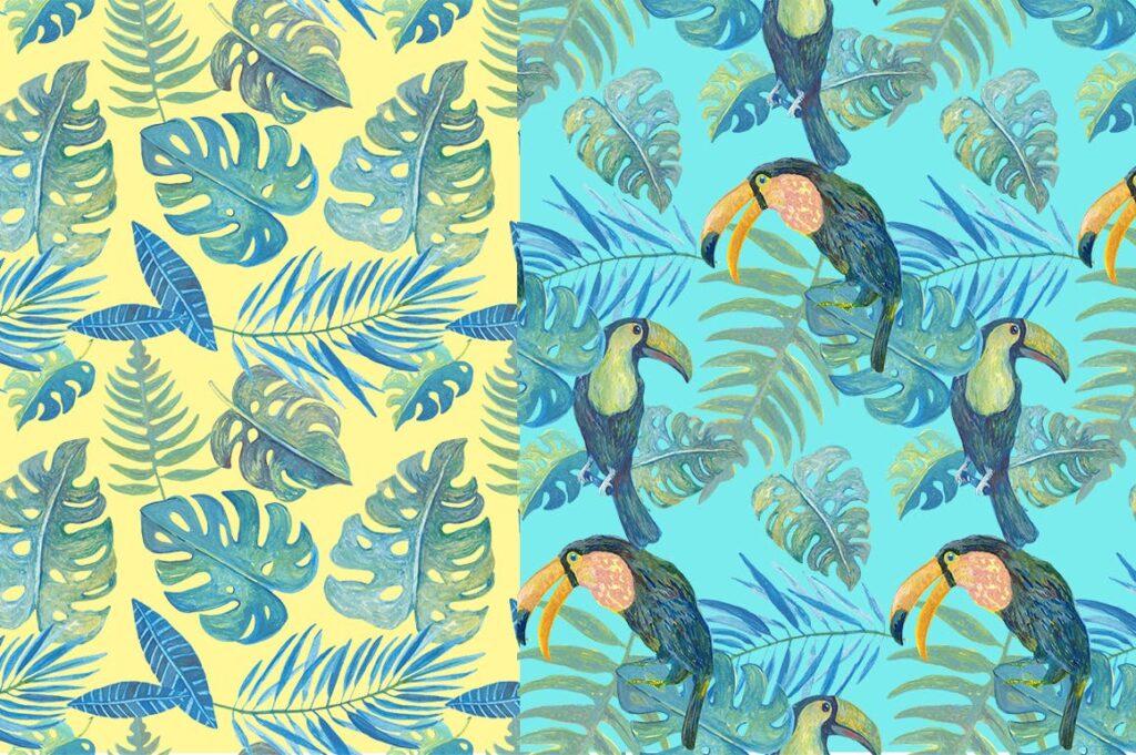 水彩画热带森林绿植绘画元素素材下载Watercolour Amazon Clipart插图(2)