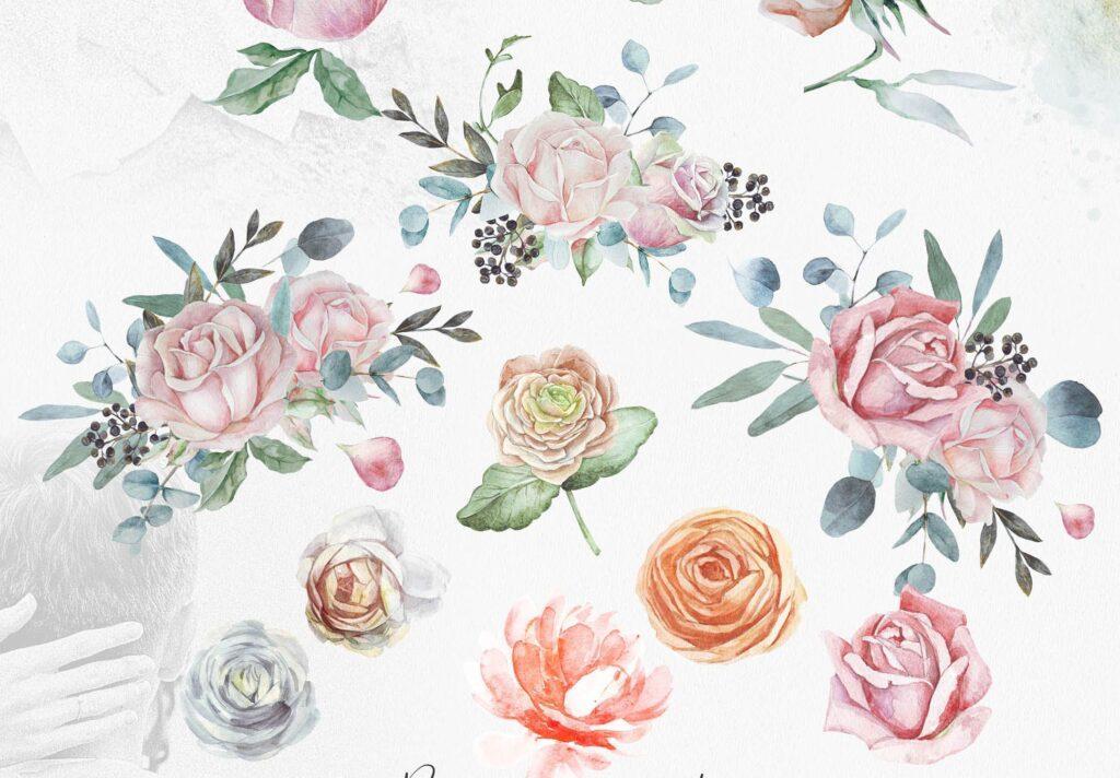 婚礼玫瑰花束创意图案合集邀请函相框装饰图案Wedding roses bouquets Artarian vol22插图(1)