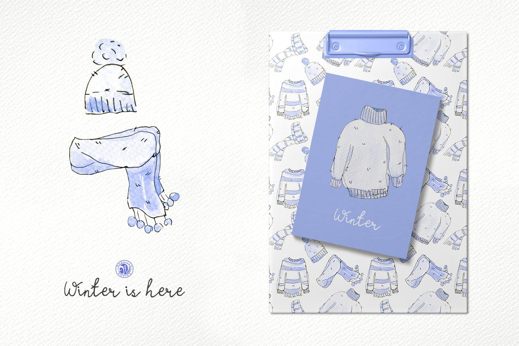 冬季手绘元素插图品牌装饰元素素材Winter is here插图(2)