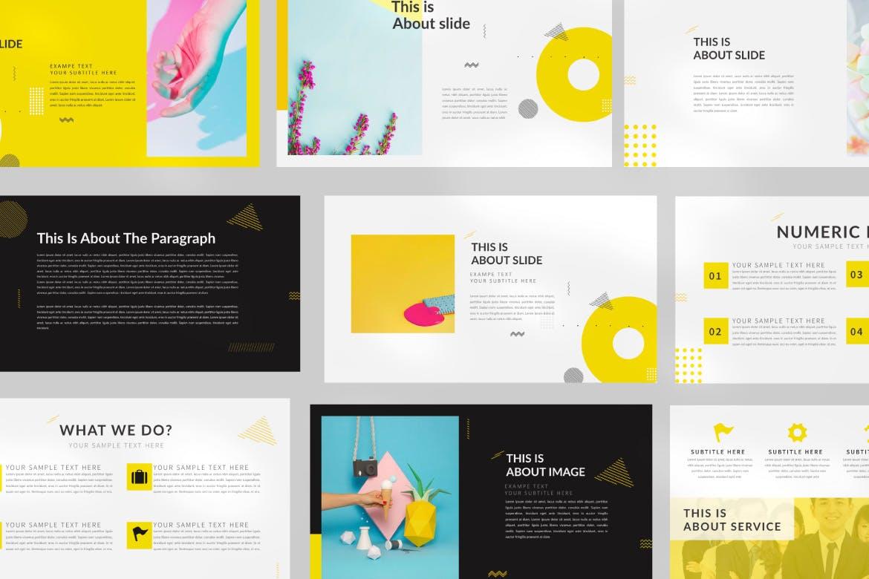 欧美风素材模板演示文稿模板Yellow Creative Keynote插图(2)