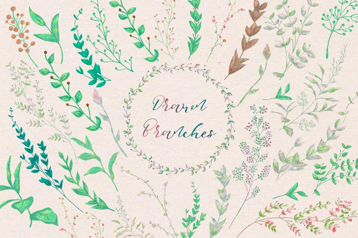 150个花卉树枝月桂服装布艺类装饰150 Watercolor Florals Bonus插图(3)