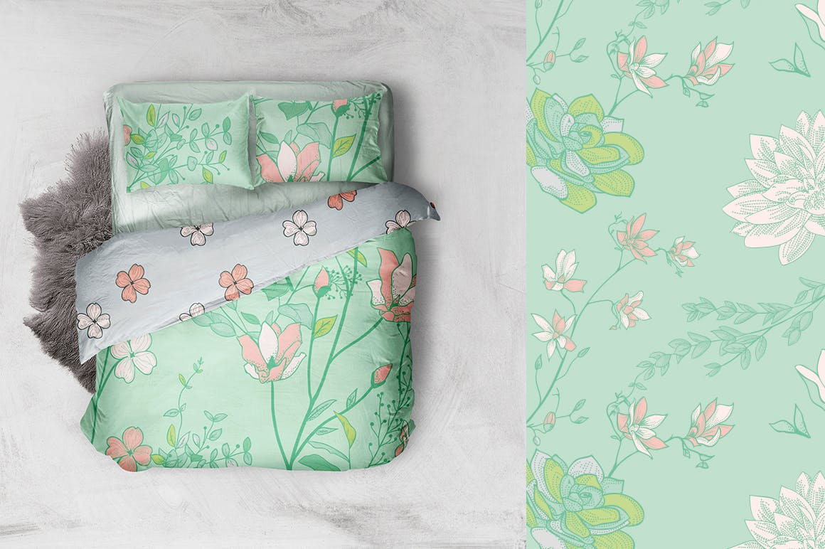 绿色植物与草药轮廓矢量图案31 Floral Patterns Pack插图(3)