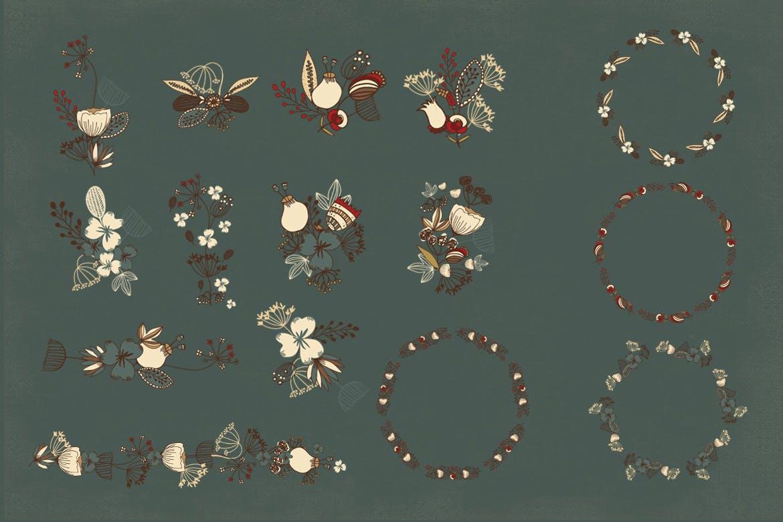 古代色彩花朵纹理素材Ancient Colors Flowers插图(3)