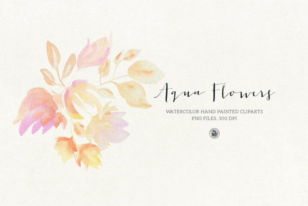 蓝色水彩花卉创意图案设计Blue floral design插图(4)