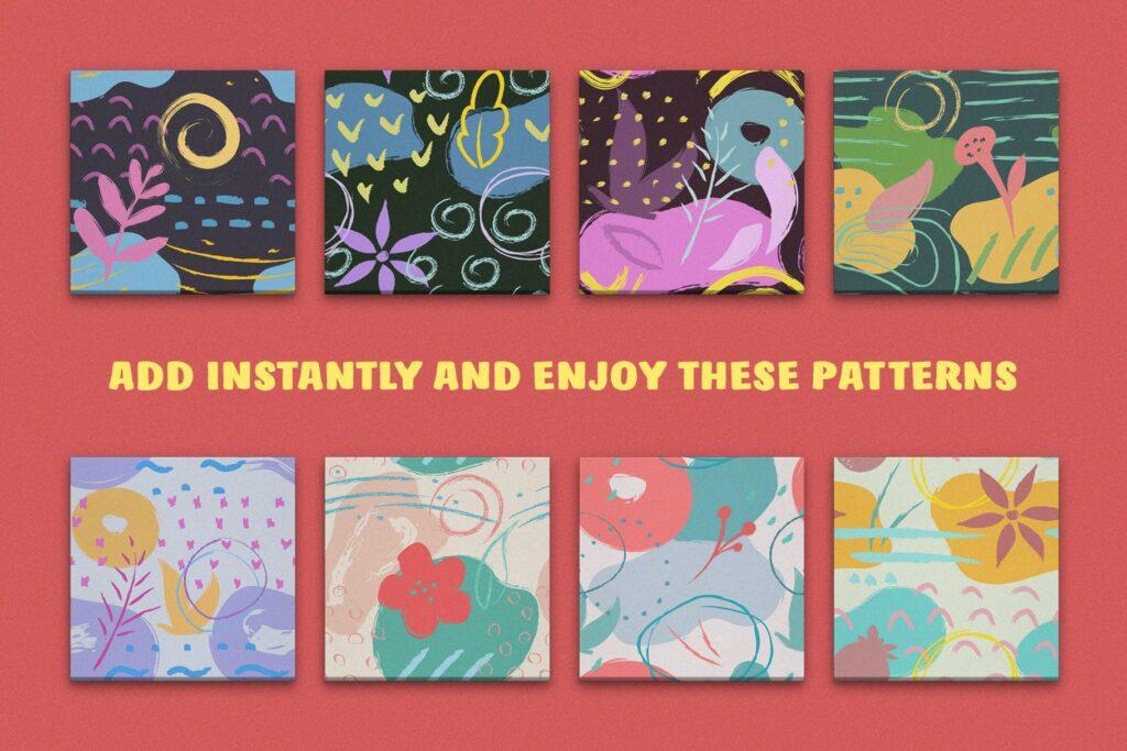 艺术笔触抽象元素装饰图案Artistic Dimension Abstract Patterns插图(3)