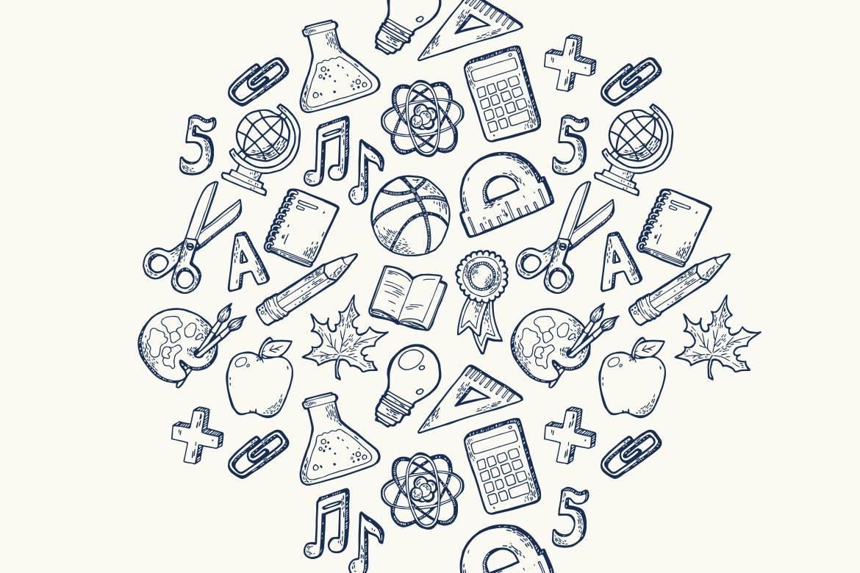手绘工具类型手机壳装饰图案纹理Back to school handdrawn pattern插图(3)