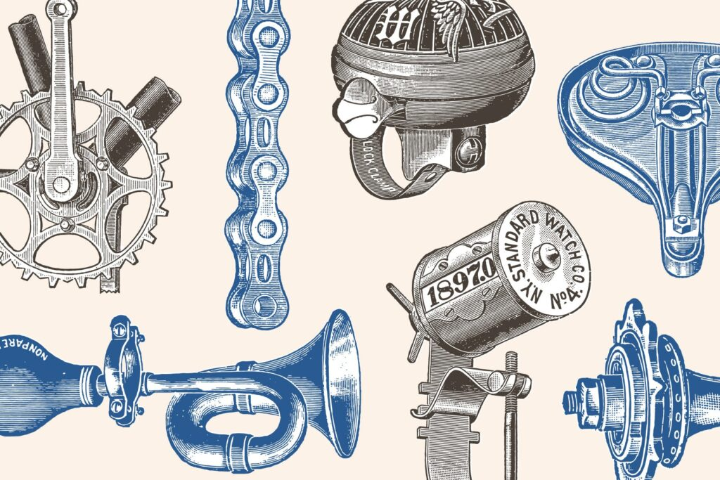 自行车和自行车配件的经典插图合Bicycles Vintage Illustration Set插图(3)