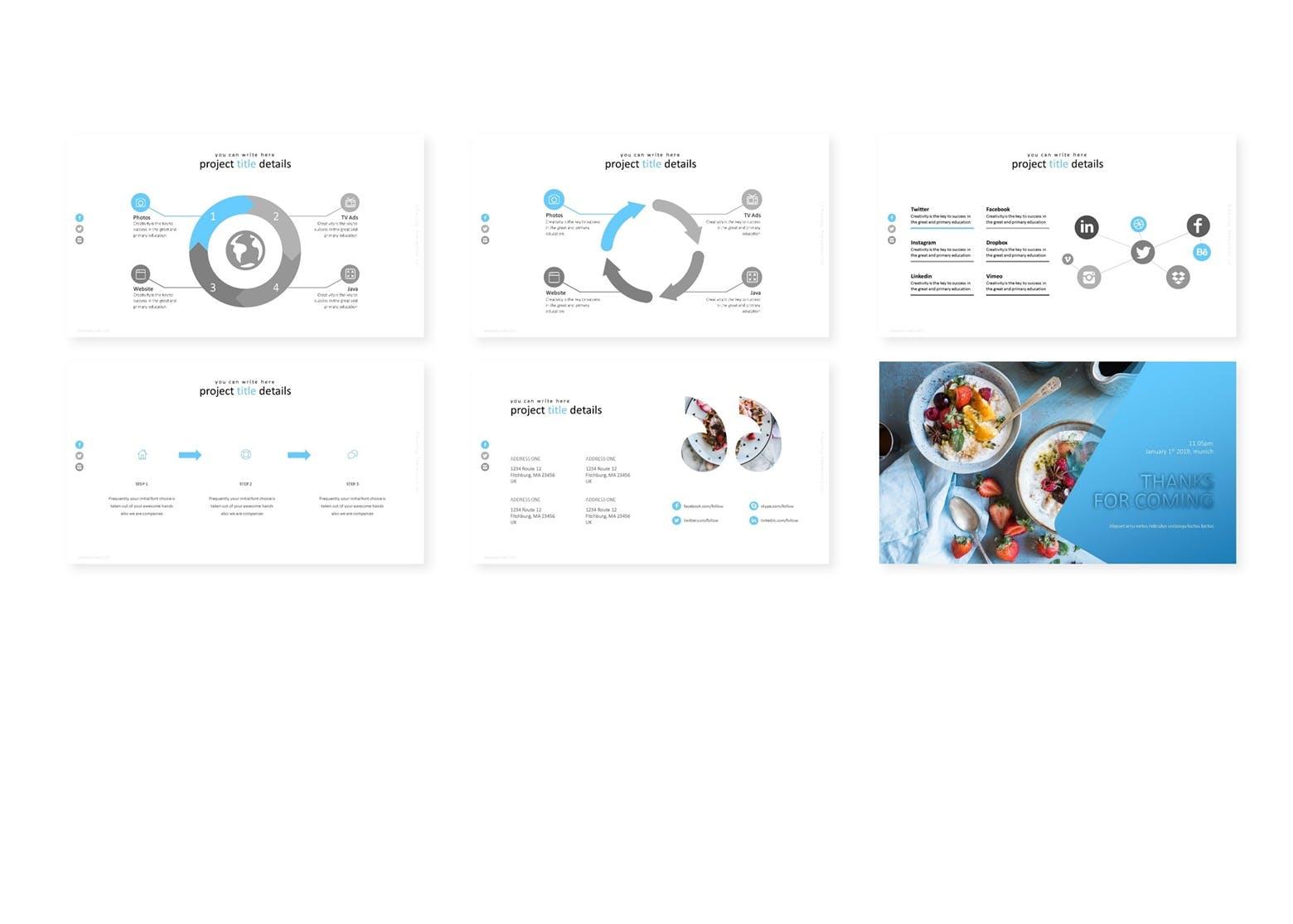 蓝色基调美食摄影展示模板演示文稿Bluewi Keynote Template插图(3)