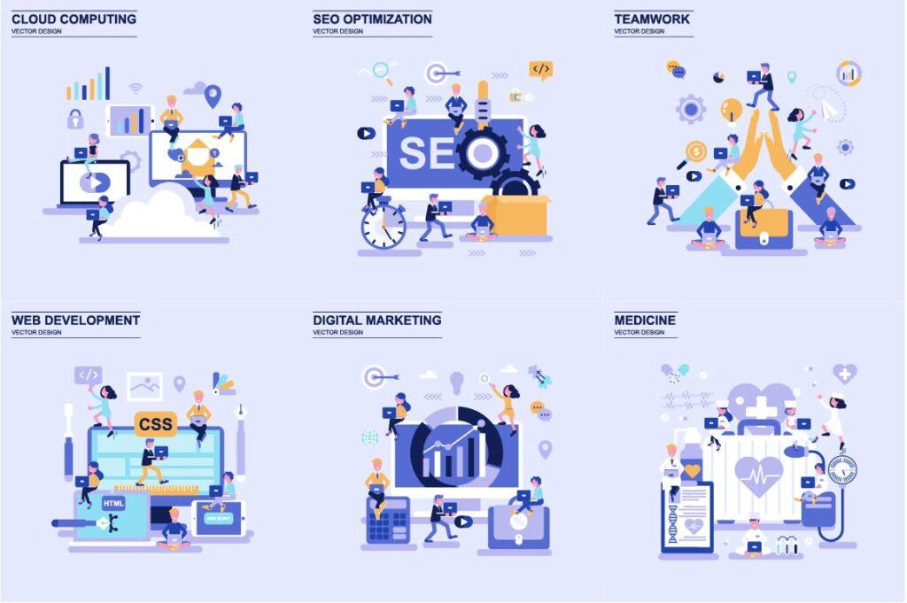 商务主题场景创意扁平化主题插画元素设计Business Flat Concepts插图(3)