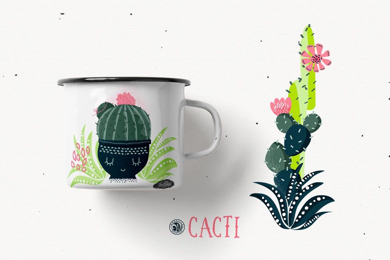仙人掌手绘元素装饰图案素材模板Cacti With Smiling Pots插图(2)