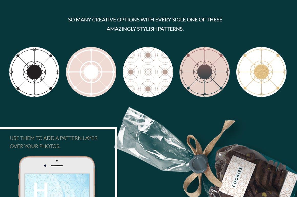 全新优雅的40个圆形无缝矢量图案食品包装装饰图案Circular Patterns Set插图(3)
