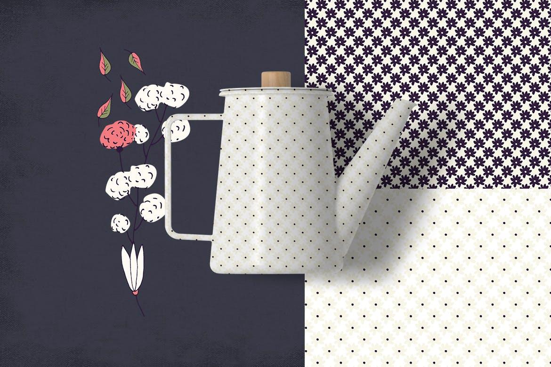 精致的花朵创意矢量图案纹理素材Delicat Flowers插图(3)
