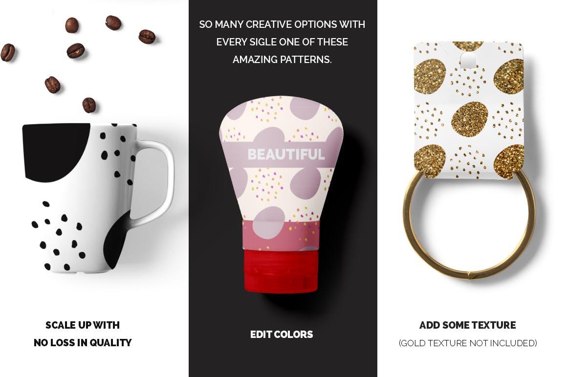 企业品牌辅助图案水墨杂点素材Dots Spots Seamless Patterns插图(2)
