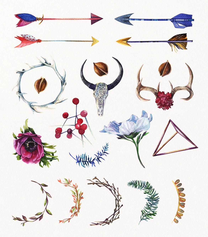 花卉/树叶/羽毛水彩元素装饰图案Enchanted Watercolor Kit插图(3)