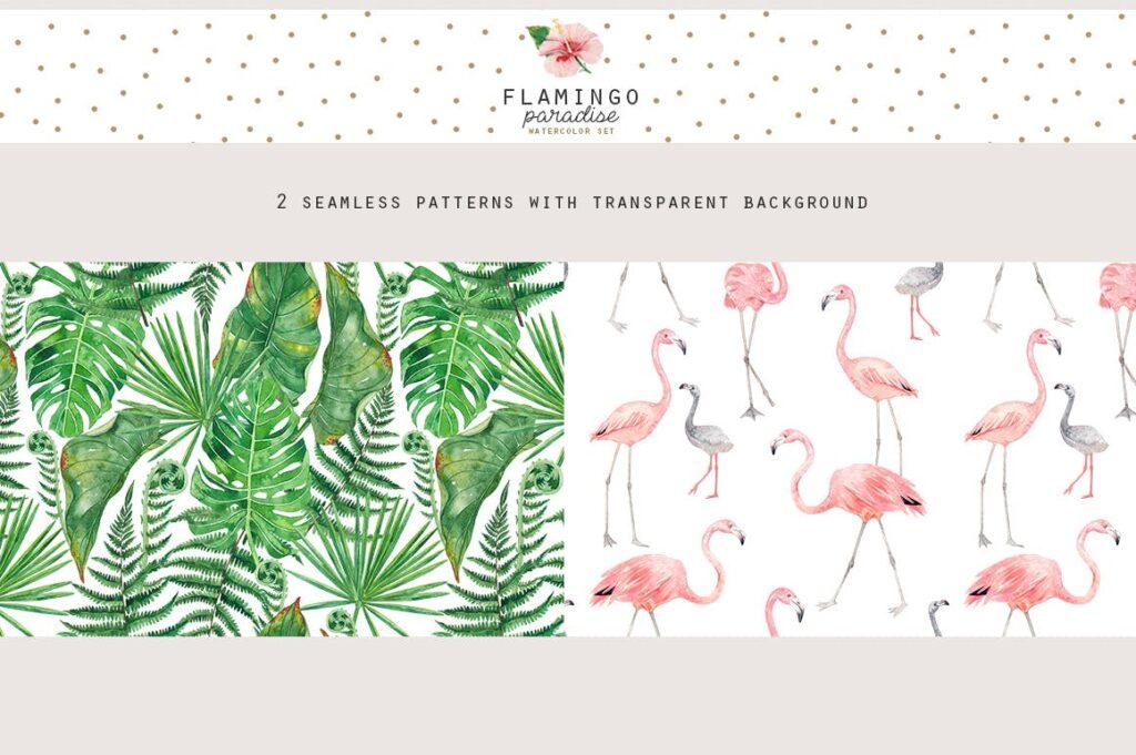 火烈鸟热带树叶和花朵主题装饰元素纹理花纹装饰图案FLAMINGO PARADISE watercolor set插图(3)