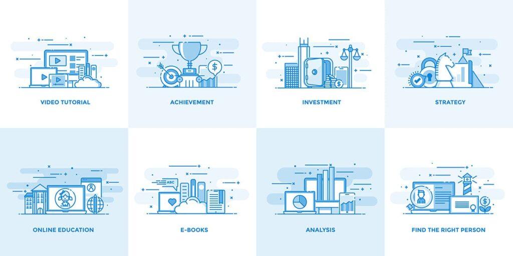 40个创意商务场景插图设计素材下载Flat Line Designed Concepts插图(3)