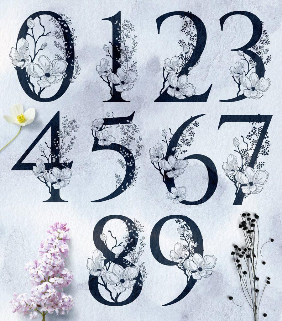非常优雅的暮光之花系列花体字母组合Floral Monograms Elements插图(3)