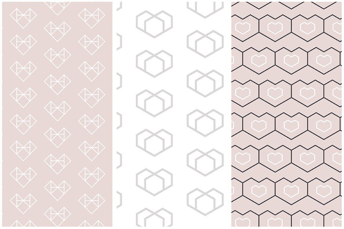 情人节产品包装装饰图案素材Geometric Hearts Patterns插图(3)
