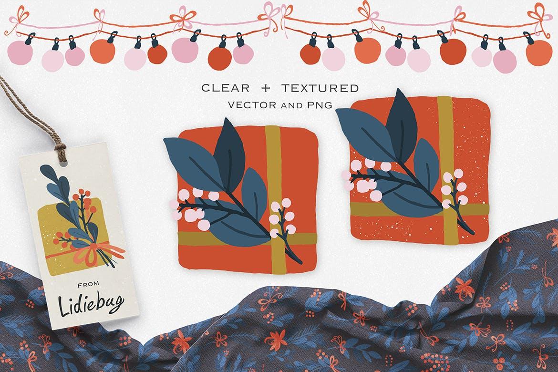 礼品盒设计元素手绘装饰图案素材纹理下载Gift Box Design Elements插图(2)