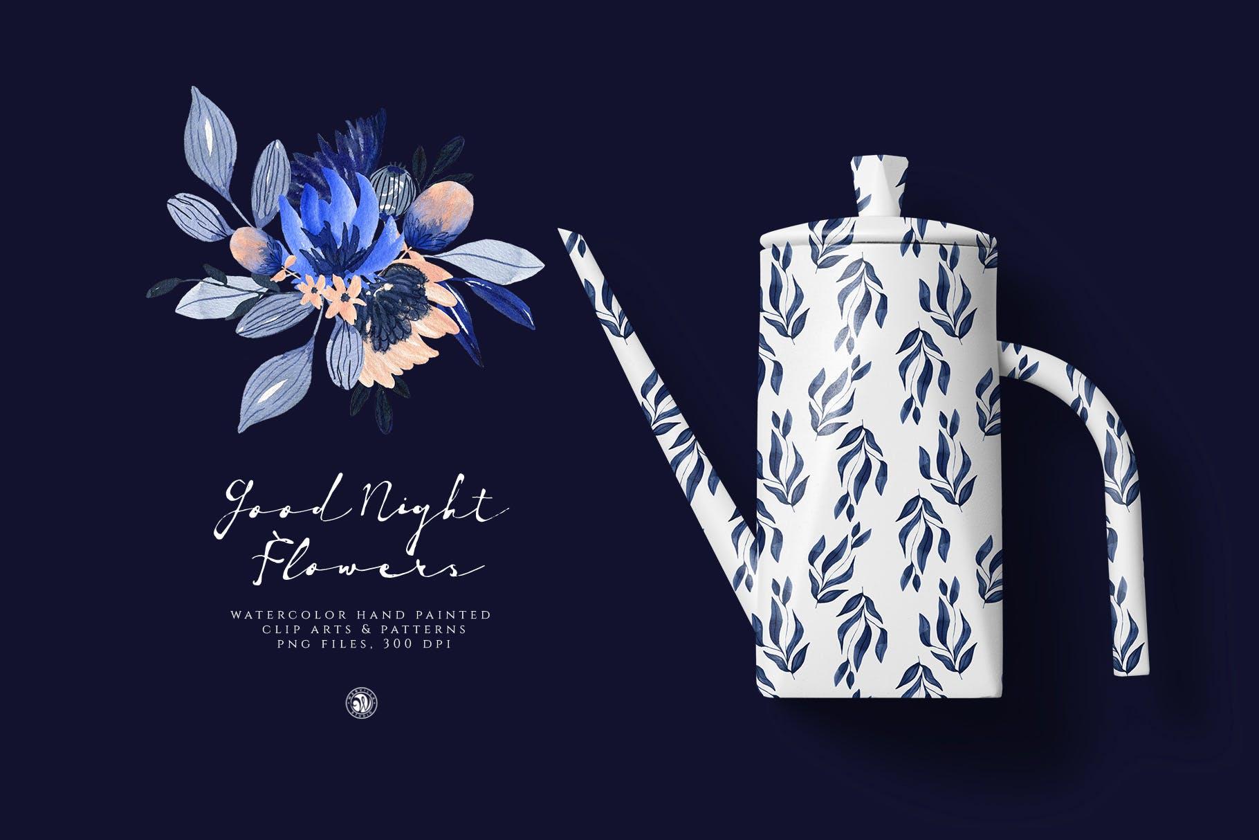 暗夜水彩画花卉手绘水彩画剪贴艺术图案/纹理素材Good Night Flowers插图(3)
