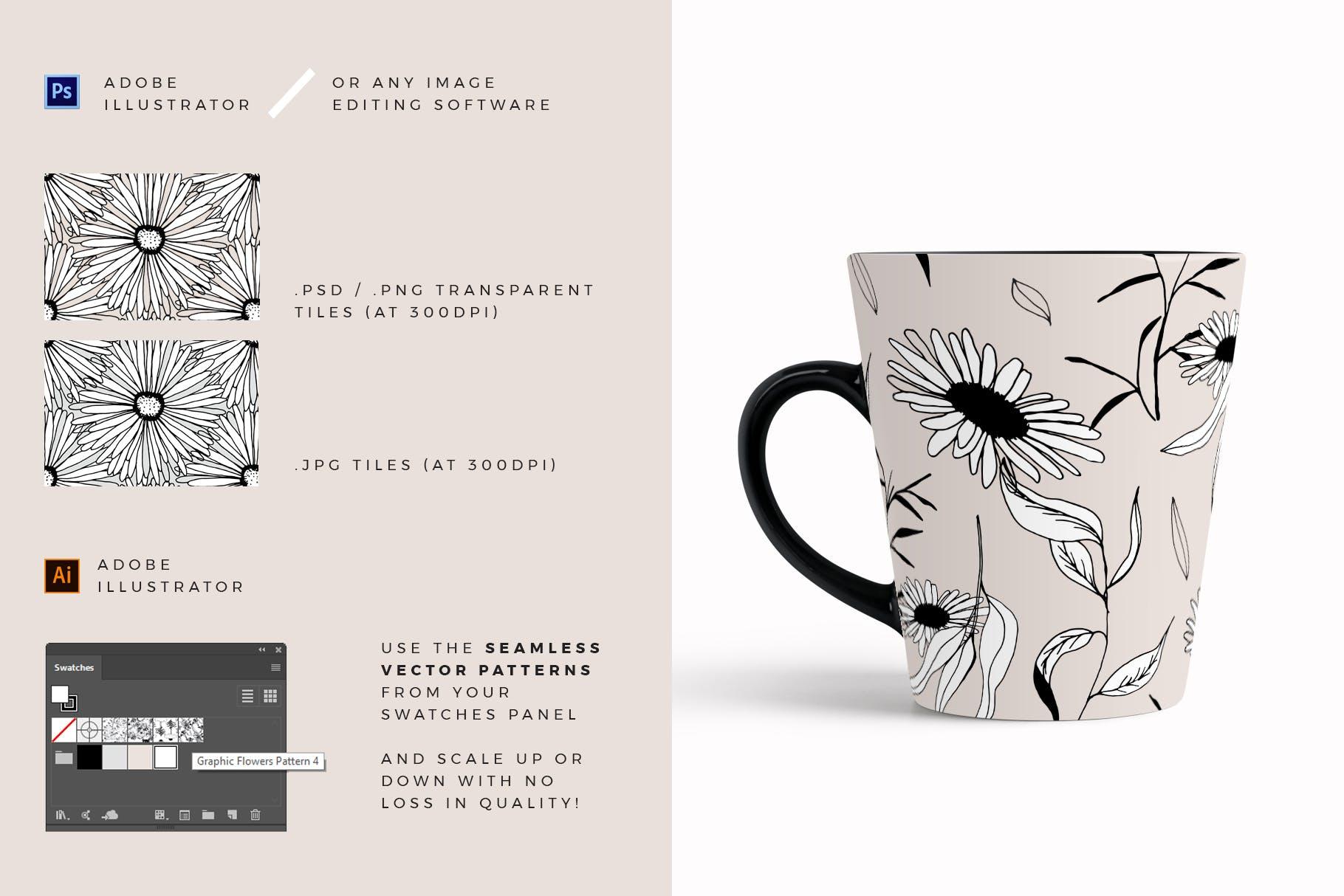图形花卉图案装饰性元素图案花纹素材下载Graphic Flowers Patterns Elements插图(3)