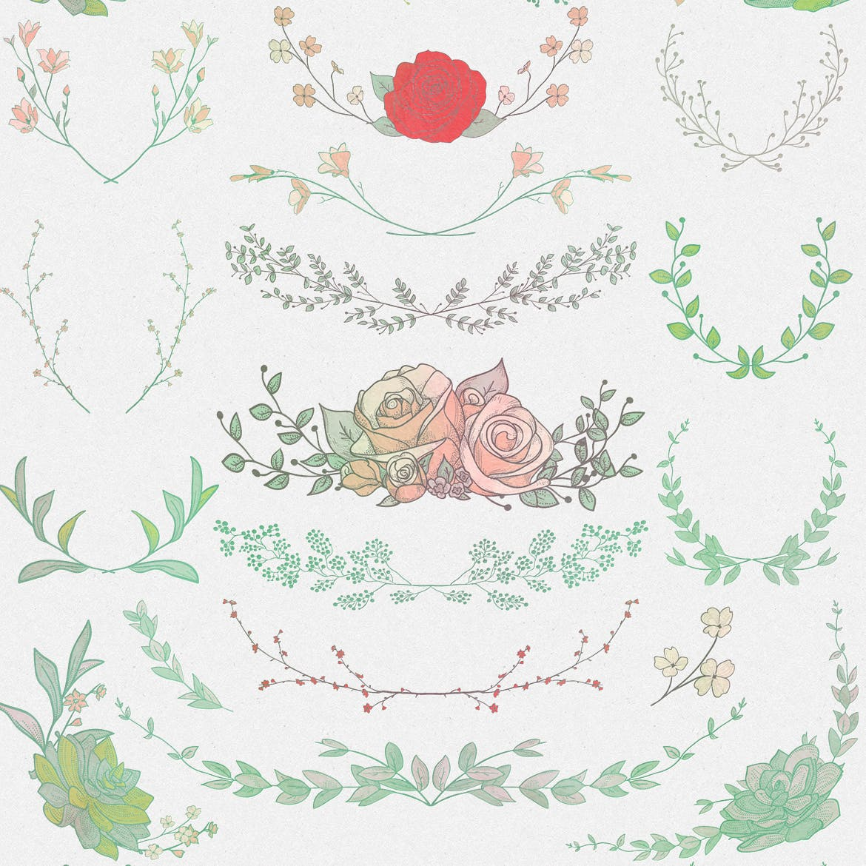 手绘乡村花卉涂鸦设计元素Greenery Collection167 Elements插图(2)