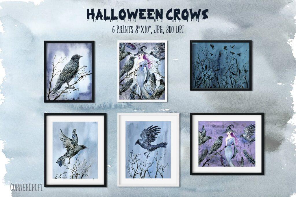 水彩万圣节乌鸦/女巫元素相框装饰画Halloween Crows and Witch Watercolor插图(3)
