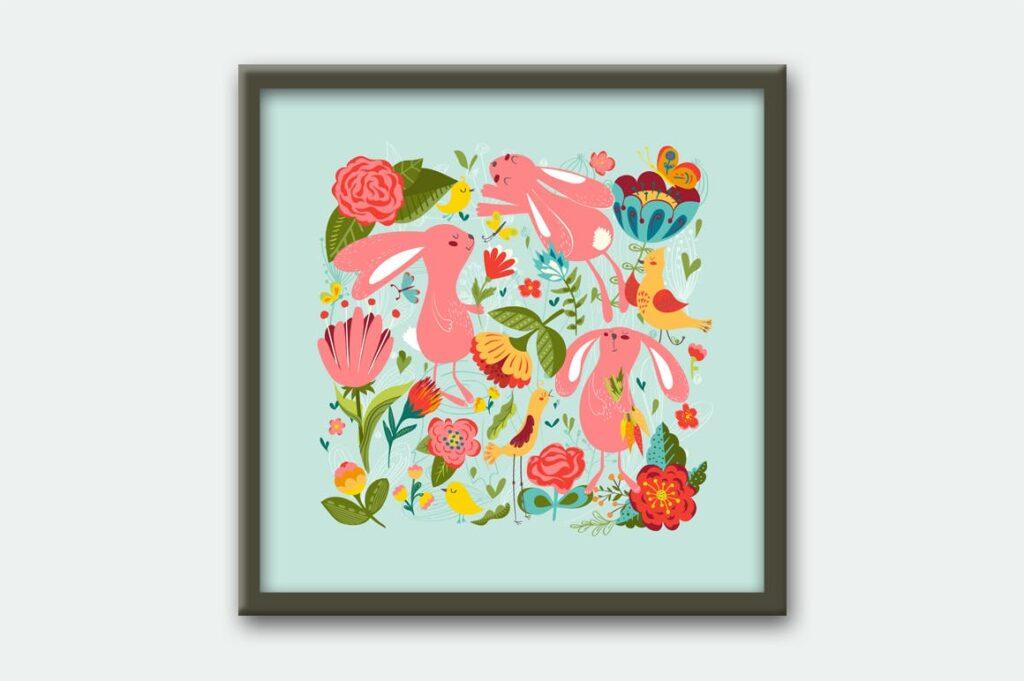 复活节贺卡装饰图案和海报纹理图案Happy Easter插图(3)