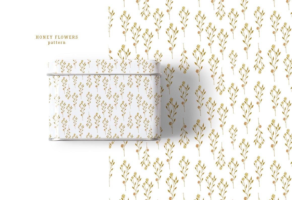 蜂蜜花卉图案纹理素材植物图案纹理下载Honey Flowers插图(3)