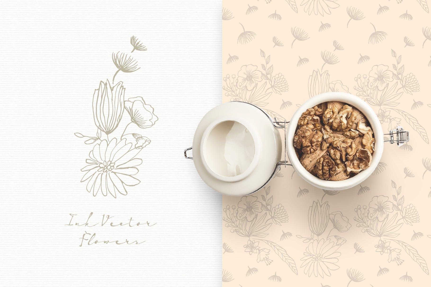 手工研磨制品装饰图案Ink Vector Flowers插图(3)