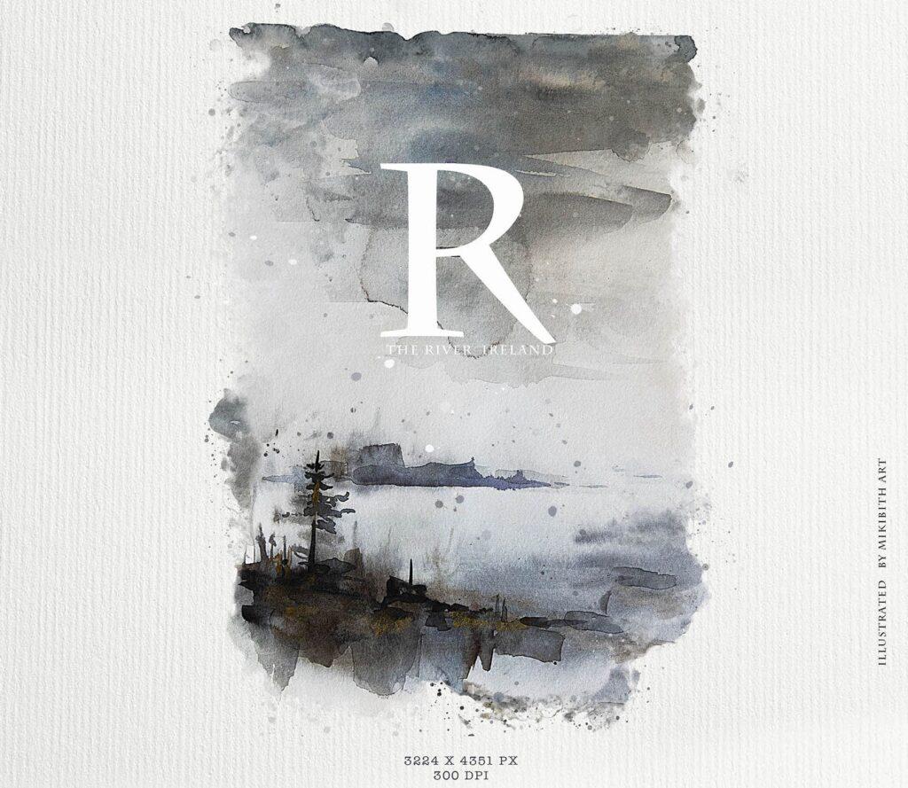 水彩画的风景与山脉/田野/河流Landscapes watercolor插图(3)