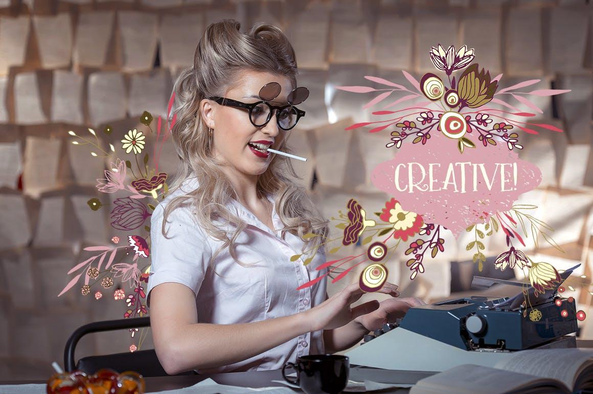 薰衣草花轮廓图素材模板图案纹理下载Lavender Flowers插图(3)