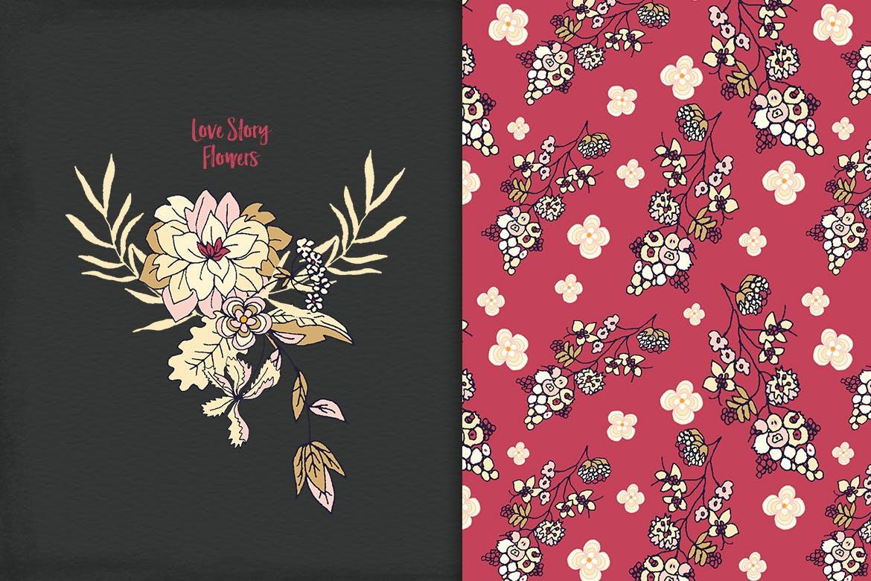 品牌花卉图案婚礼请柬服装类装饰图案Floral Cliparts插图(6)