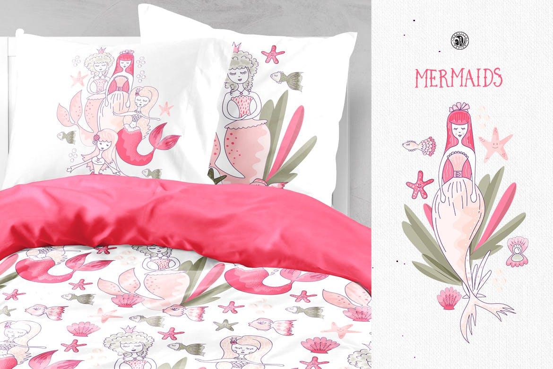 美人鱼粉红色矢量剪贴画和图案Mermaids插图(3)