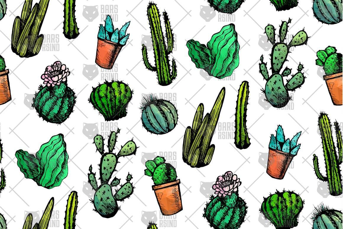 墨西哥仙人掌图案黑白包装图案装饰图案下载Mexican Cactus Patterns插图(3)