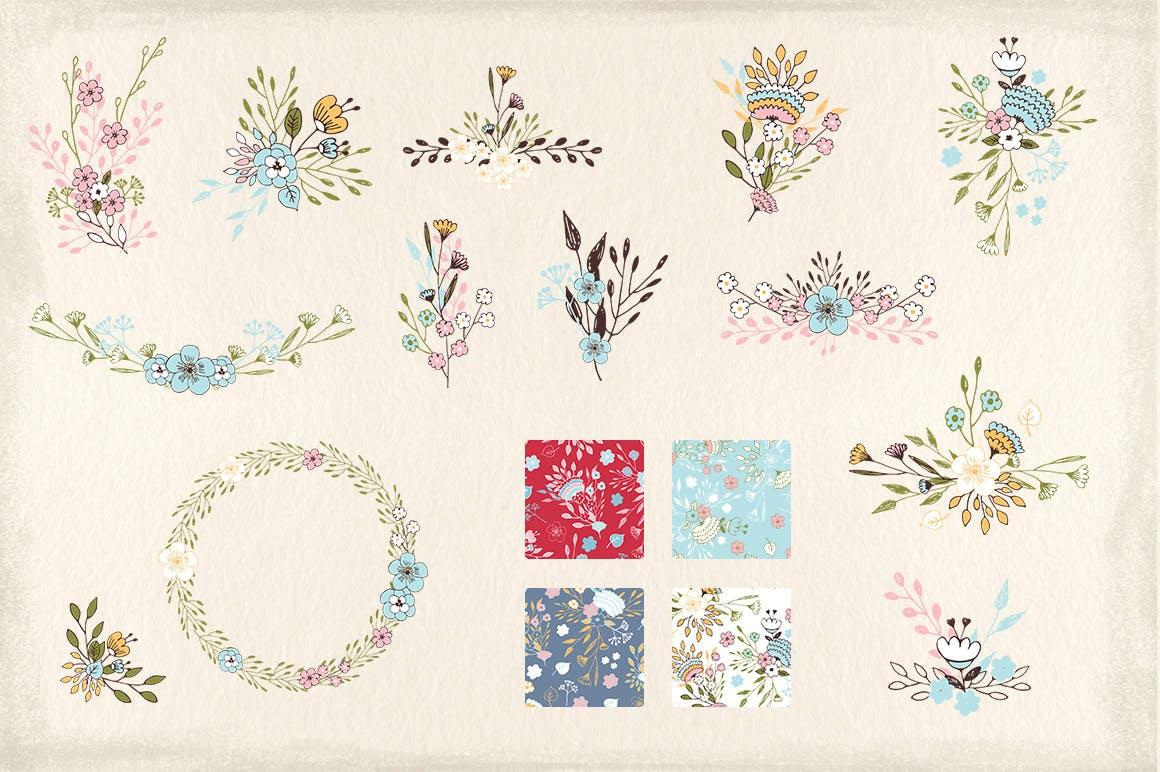 室内墙体装饰纹理素材装饰画Nice Flowers插图(3)