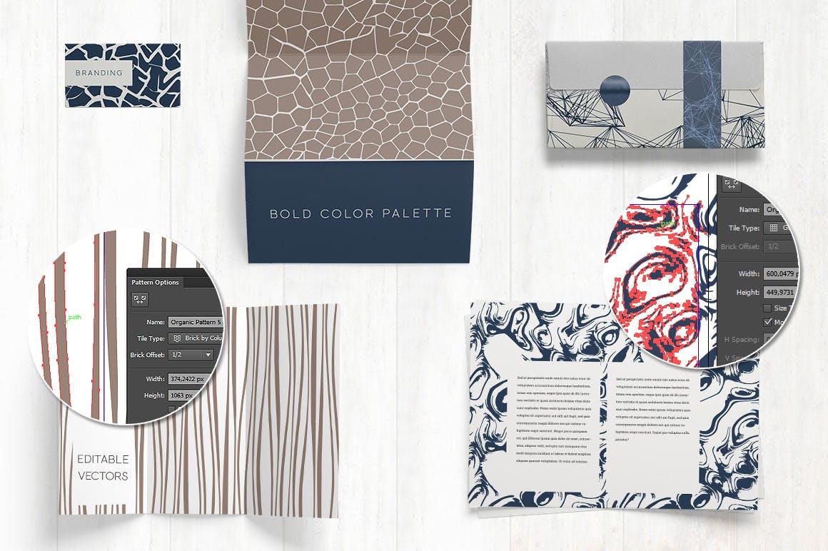 自然纹理大自然线条图案组合展示下载Organic Patterns 2 color palettes插图(3)