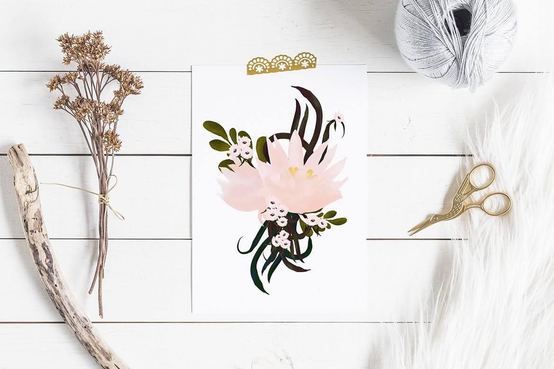 彩绘花卉品牌手提袋包装装饰图案素材Painted Flowers插图(3)