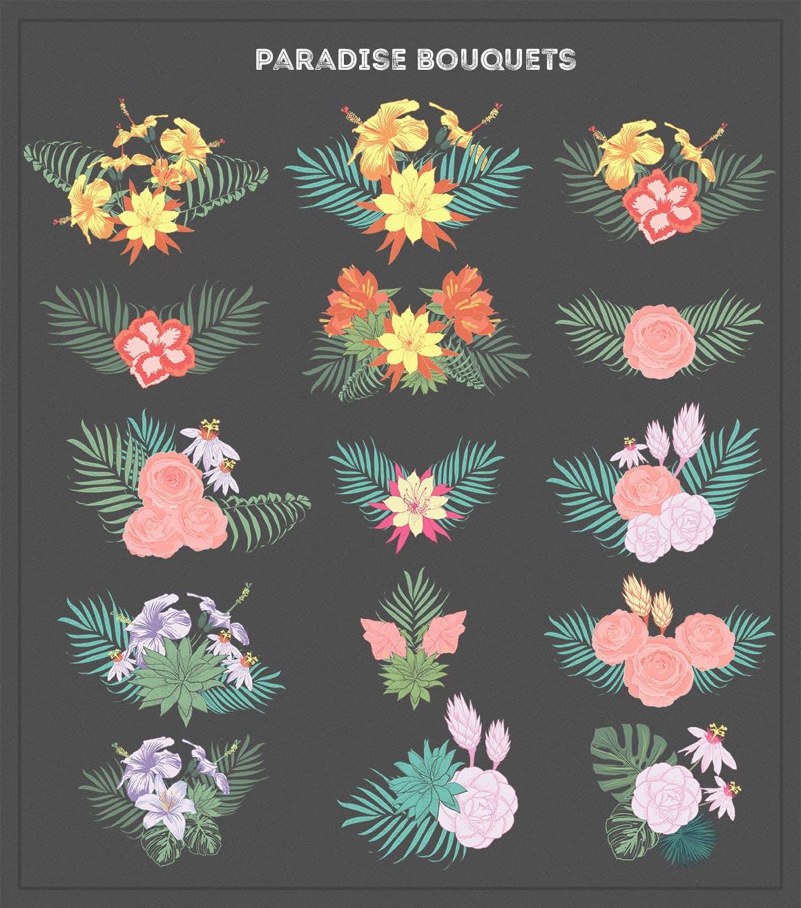 多品种花卉系列手绘插画元素图案纹理Paradise Flowers插图(3)