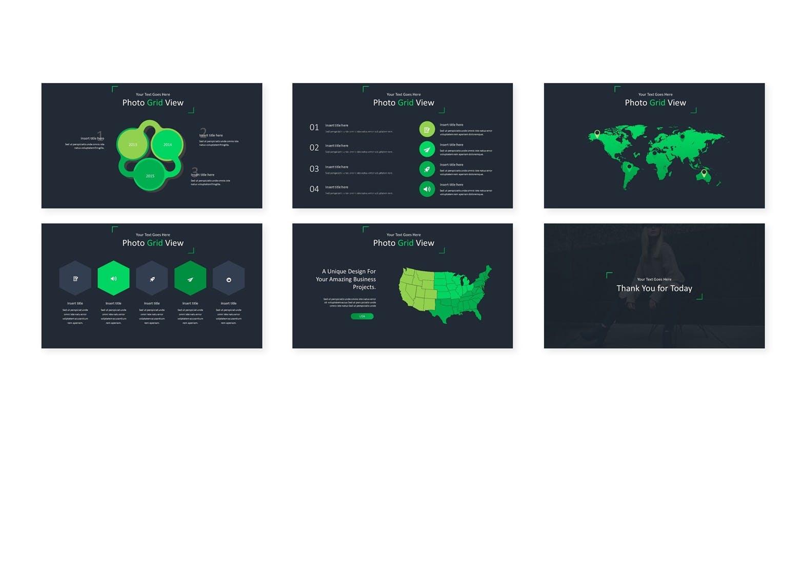企业业务市场策划PPT幻灯片模板下载Photo Grid Keynote Template插图(3)