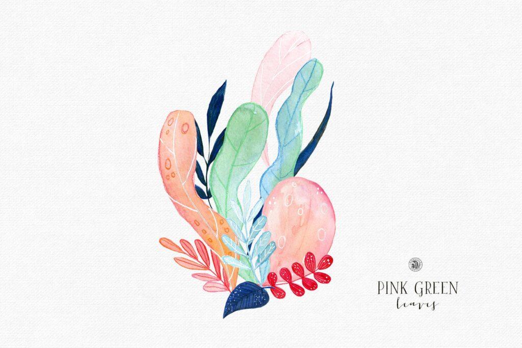粉红色叶子水彩花卉装饰图案花纹Pink Green Leaves插图(3)