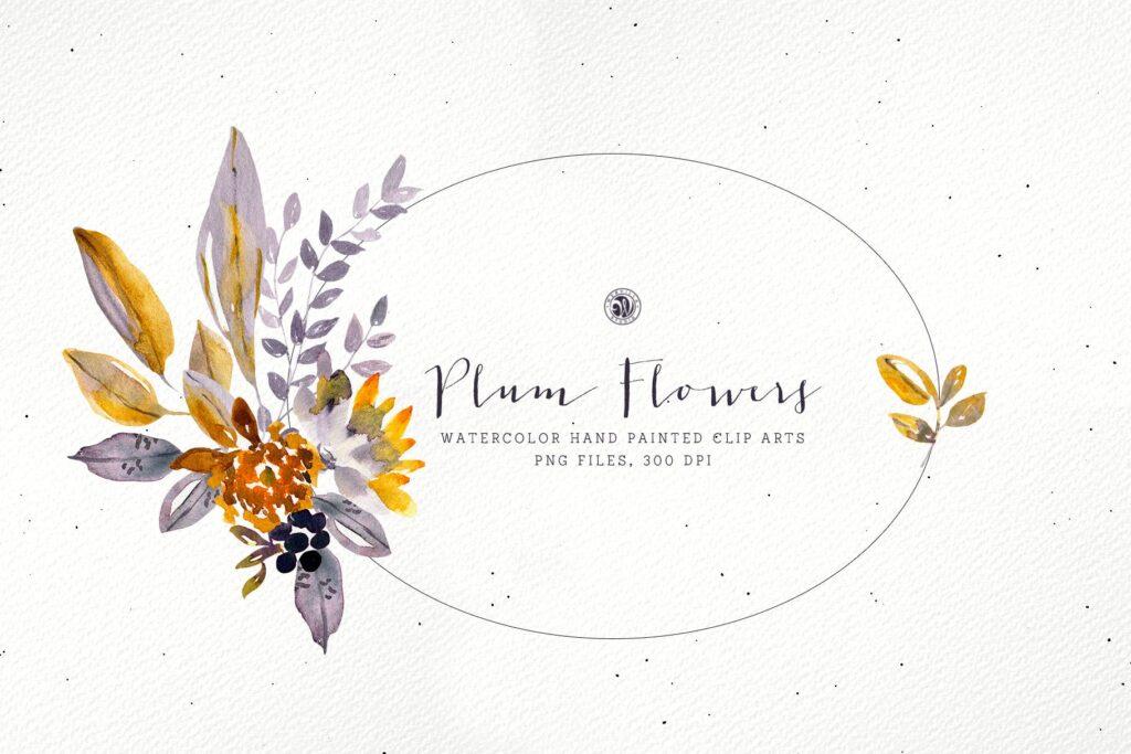梅花水彩画手绘水彩画剪贴艺术装饰图案Plum Watercolor Flowers插图(3)