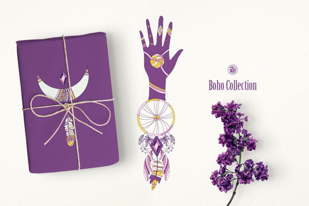 紫色波西米亚手绘系列波西米亚手工剪纸装饰图案Purple Boho Collection插图(3)