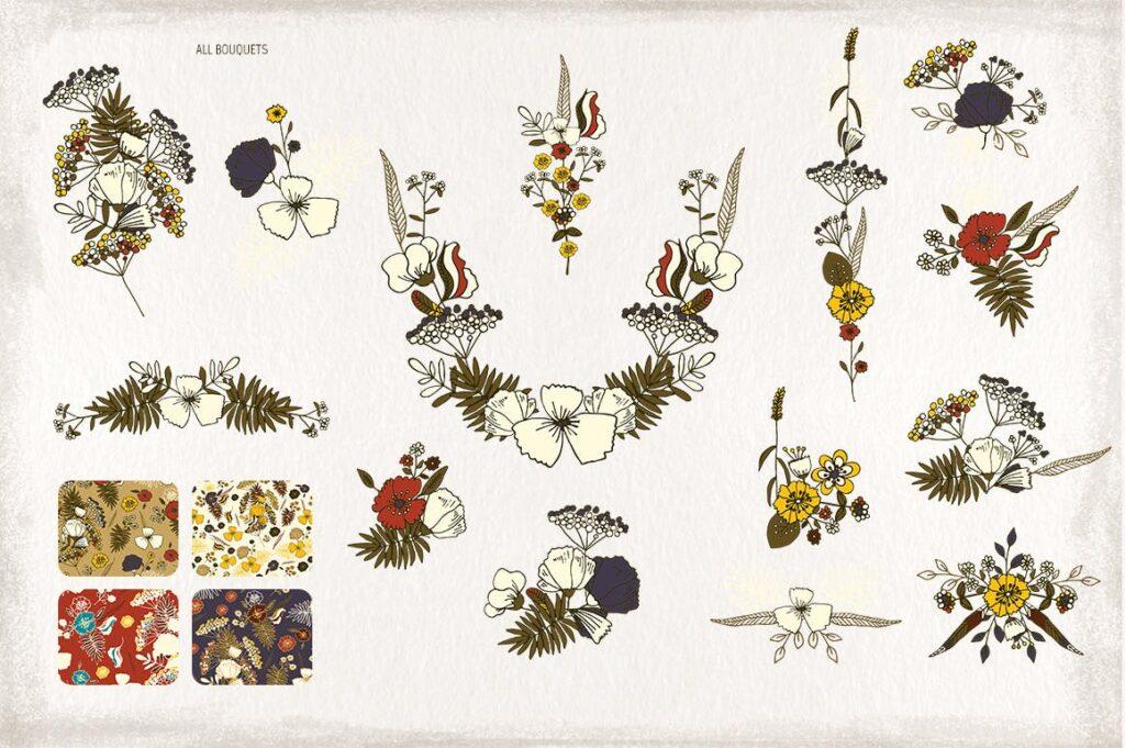 婚礼花卉装饰图案纹理下载Serious Flowers插图(3)